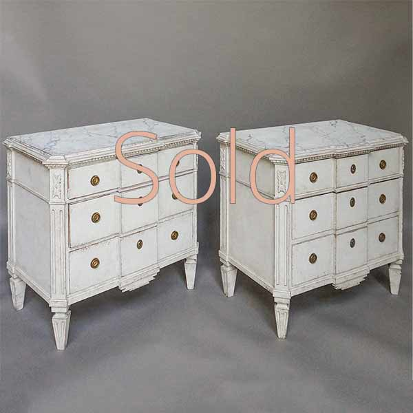 Pair of Breakfront Neoclassical Style Commodes