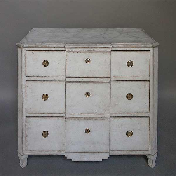 Small Swedish block-front commode