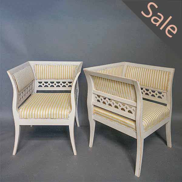 Gustavian Style Armchairs in Rare Form