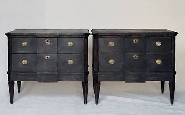 Pair of Swedish antique block-front commodes