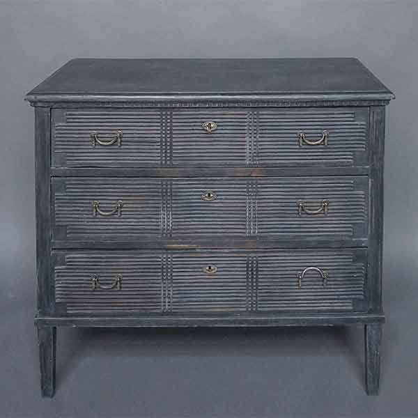 Black Neoclassical Chest of Drawers