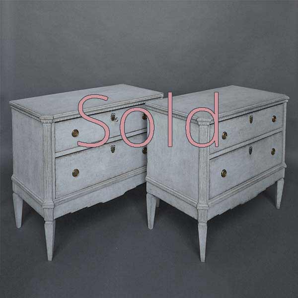 Pair of Gustavian Gray Swedish Commodes