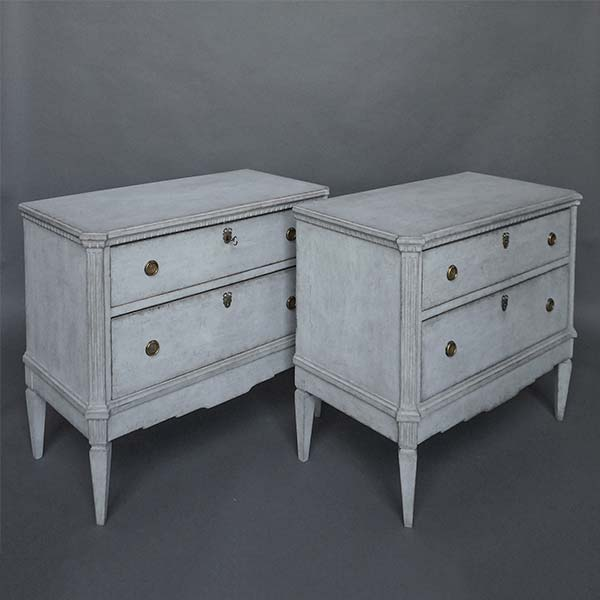 Pair of Gustavian Gray Swedish Commodes