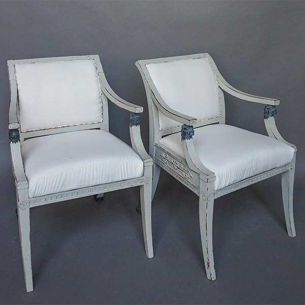 Pair of Neoclassical Style Armchairs with Lion Detail