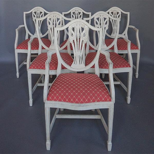 Set of Six Gustavian Style Armchairs
