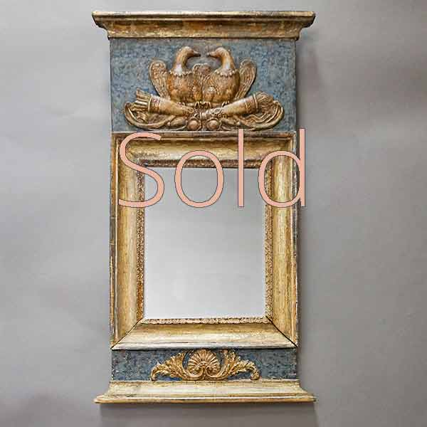 Neoclassical Swedish Mirror with Love Tokens
