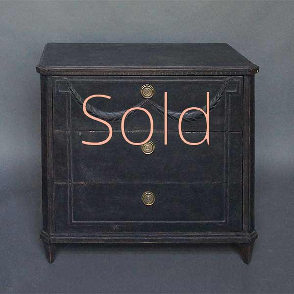 Black Three Drawer Chest with Applied Swag