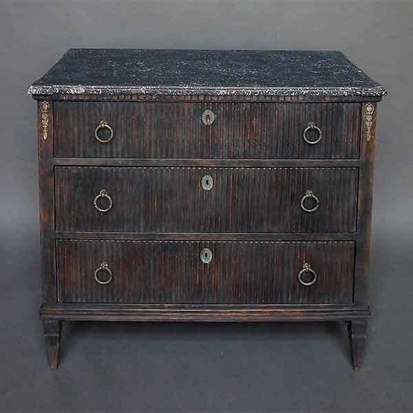 Black Swedish Chest of Drawers