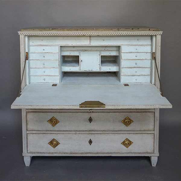 Fall-Front Writing Desk with Original Gotland Marble Top