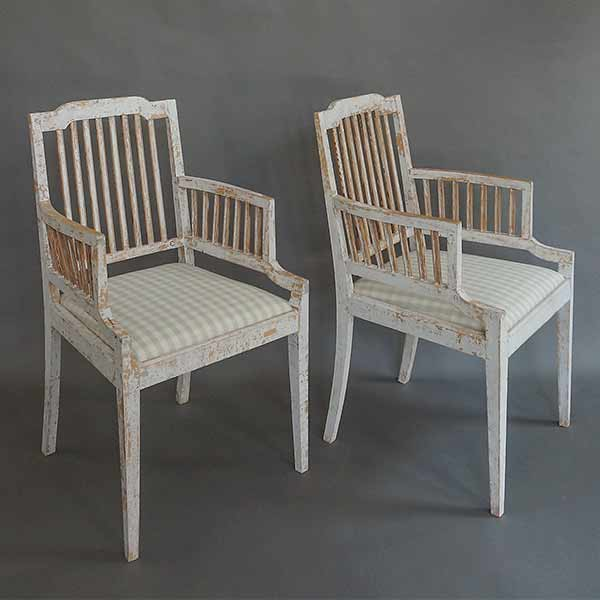 Pair of Gustavian style stick-back armchairs