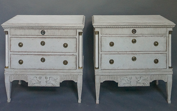 Pair of Neoclassical Commodes with Hellenic Sphinxes