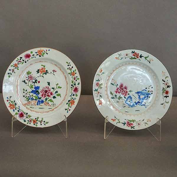 Two Famille Rose Chinese Export Plates