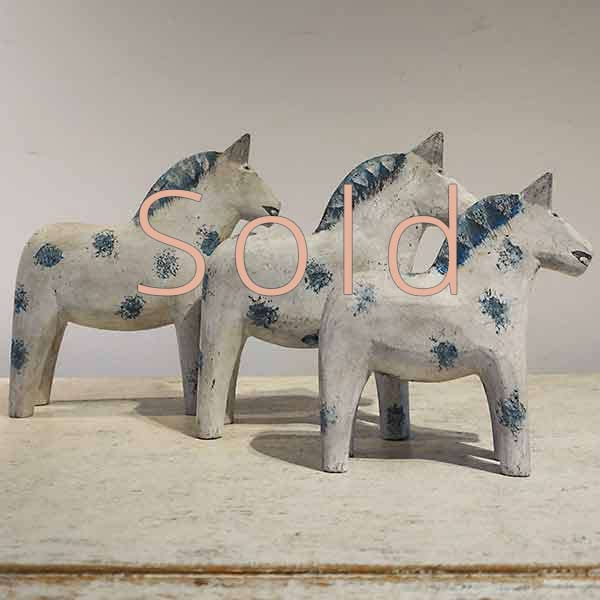 Set of Three Dala Horses