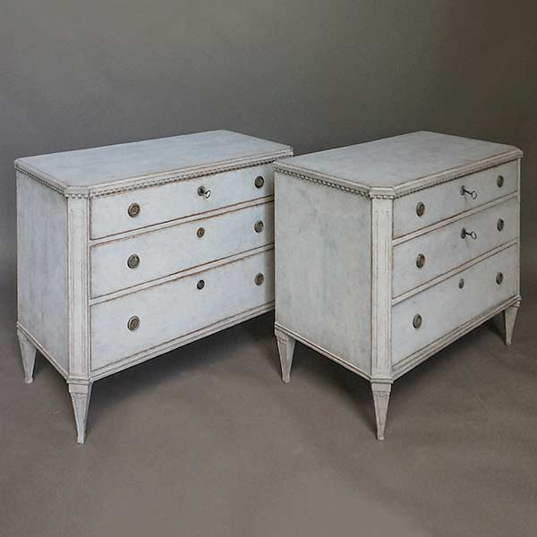 Pair of Late Gustavian Style Chests of Drawers