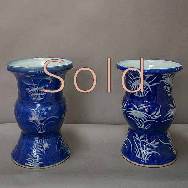 Pair of Blue Qing Dynasty Vases