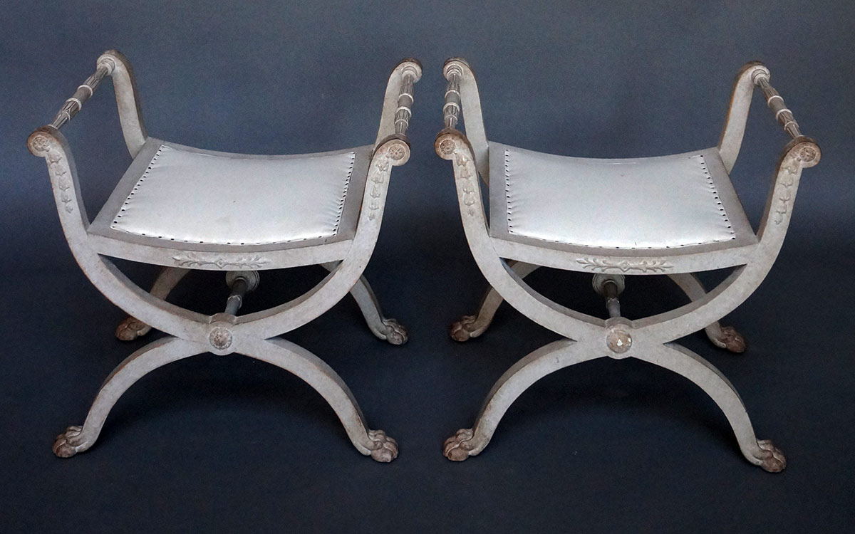 Pair of Curule Stools in the Gustavian Style
