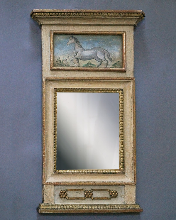 Neoclassical Mirror with Painted Panel
