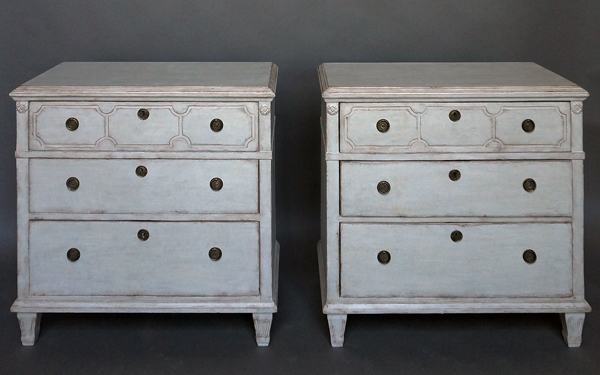 Pair of Gustavian Style Three-Drawer Chests