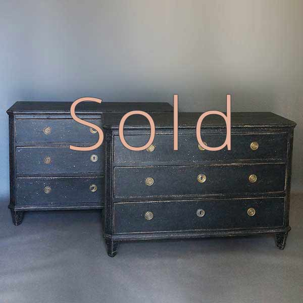 Pair of Black Chests of Drawers in the Late Gustavian Style