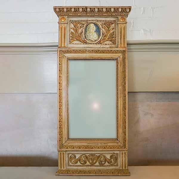 Period Gustavian Mirror with Portrait