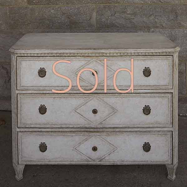 Three Drawer Chest with Incised Detail
