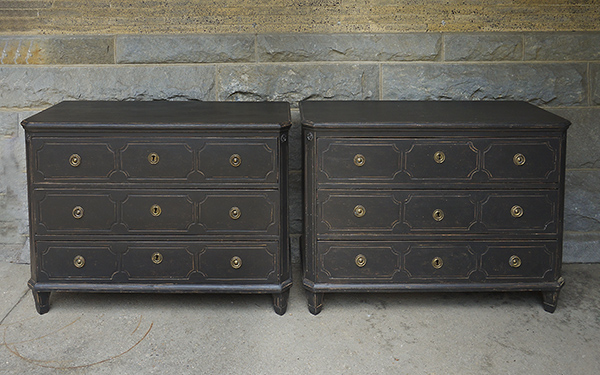 Pair of Black Neoclassical Style Chests